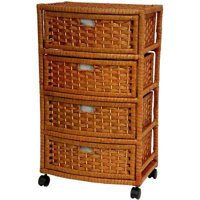 4-Drawer Honey Natural Fiber Trunk