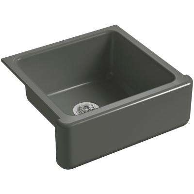 Whitehaven Farmhouse Apron-Front Cast Iron 24 in. Single Basin Kitchen Sink in Thunder Grey