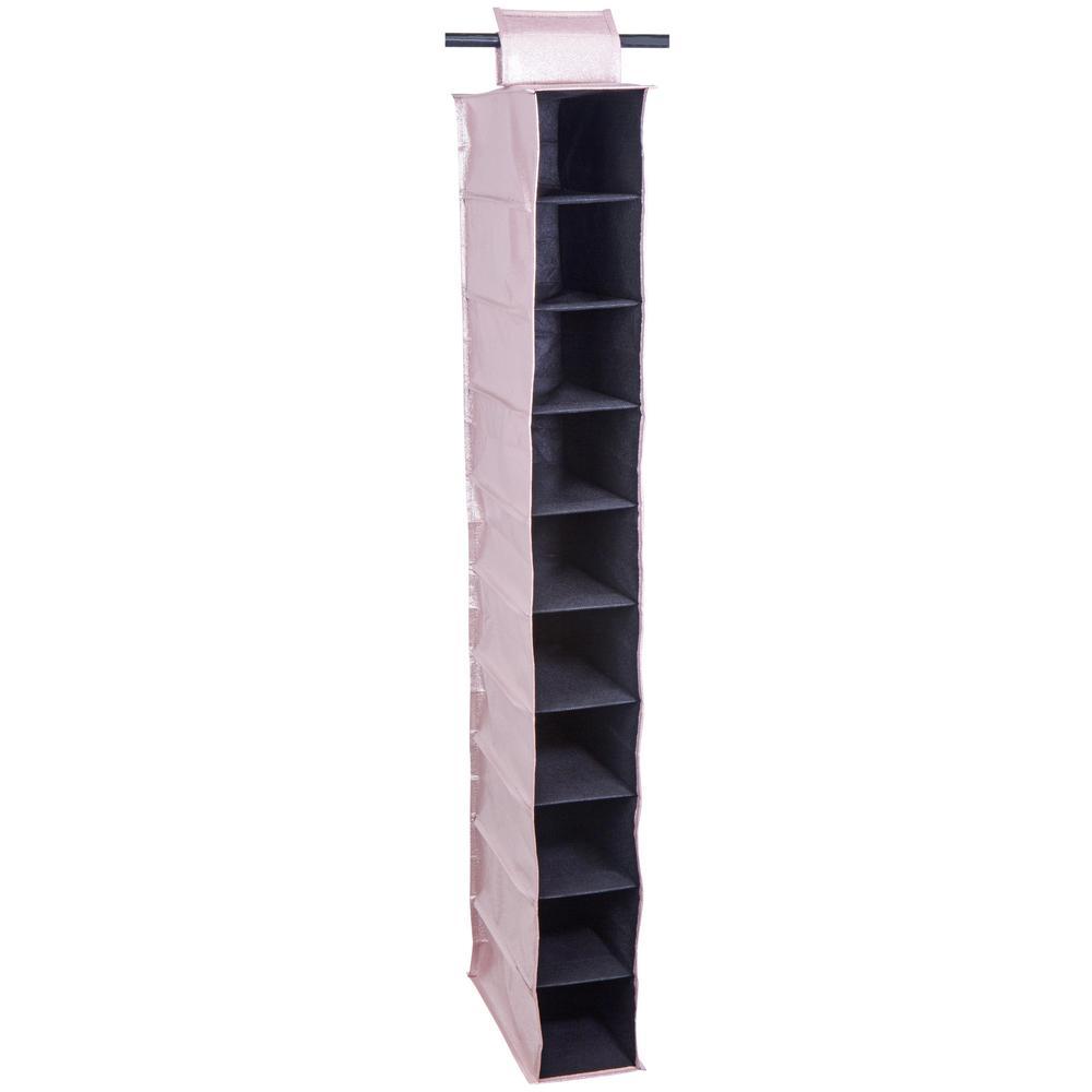 Metallic Hanging 10-Shelf Organizer in Blush