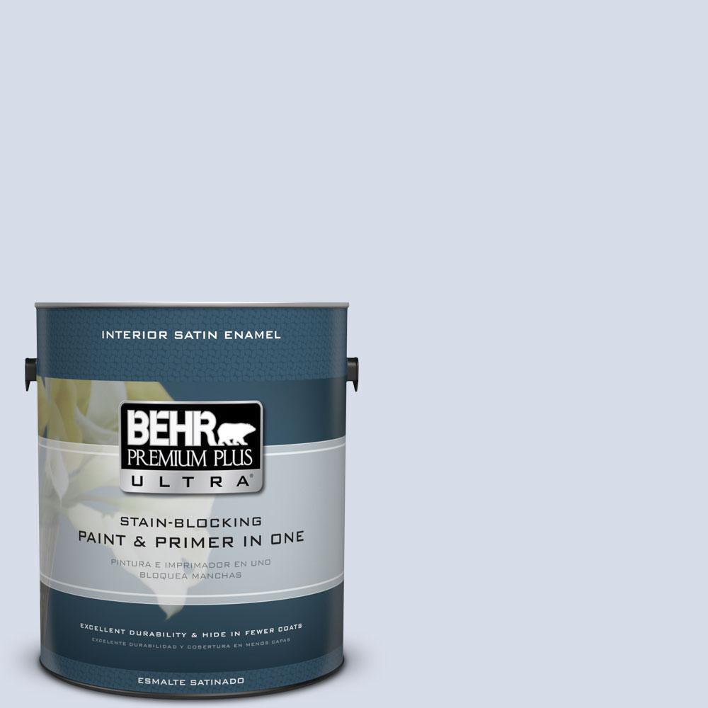1 gal. #590E-2 Snow Ballet Satin Enamel Interior Paint and Primer