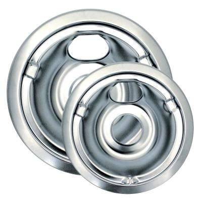 6 in. Small and 8 in. Large Drip Bowl in Chrome (2-Pack)