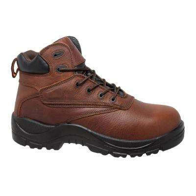 Men's Size 8.5 Brown Grain Tumbled Leather 7 in. Waterproof Work Boots