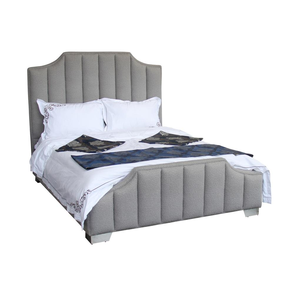 Armen Living Queen Gray Sheepwool Bed Frame Polished Stainless Steel