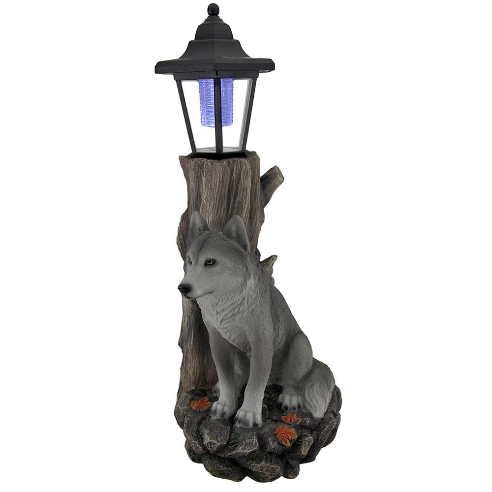 Lantern Statue Watchful Wolf Sculptural Solar