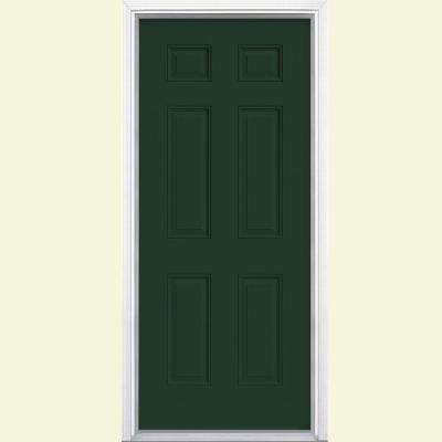6 Panel Painted Smooth Fiberglass Prehung Front Door With Brickmold