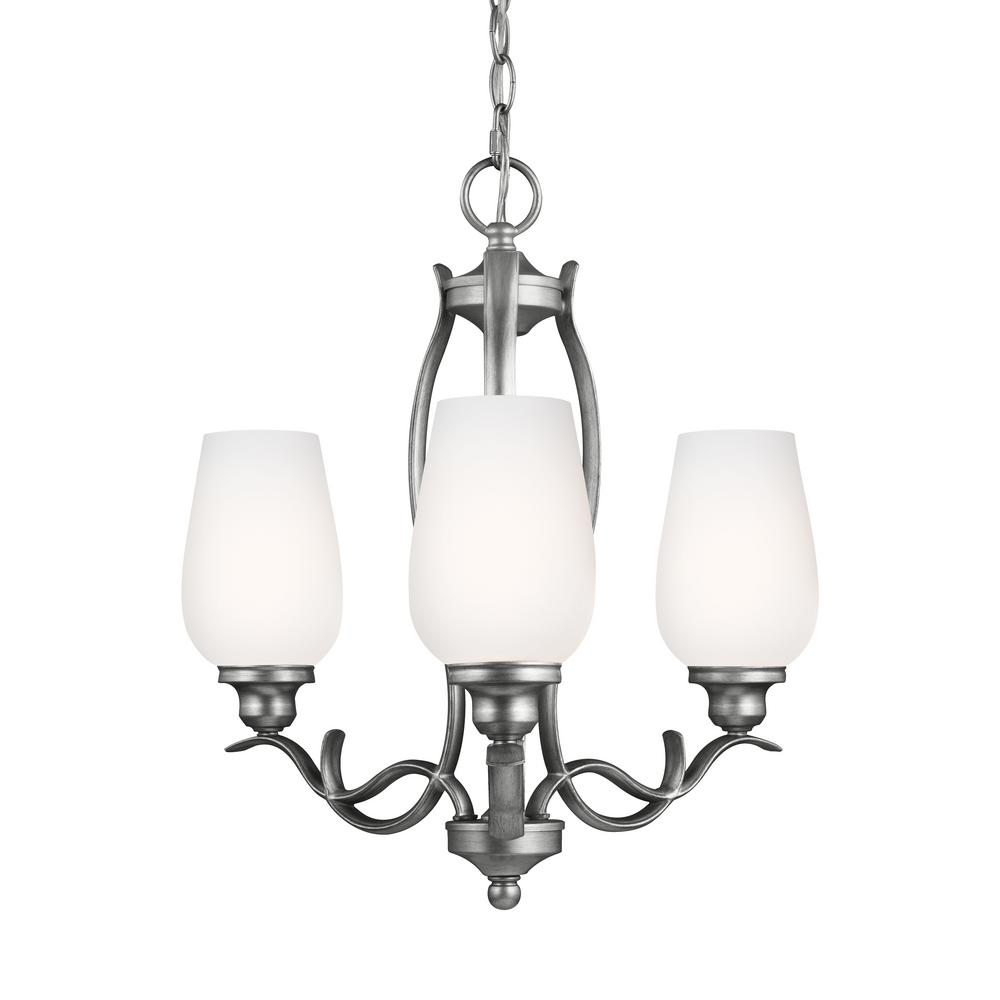 Feiss Standish 3-Light Heritage Silver Single Tier Chandelier Shade