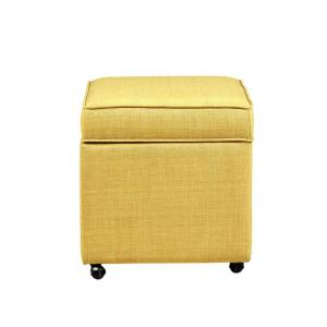 finest selection 085d8 122e6 Inspired Home Laurie Yellow Linen Upholstered Rolling Cube ...