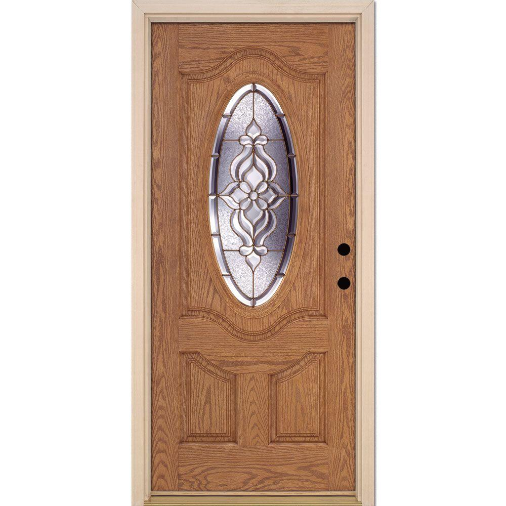 Feather River Doors 37.5 in. x 81.625 in. Lakewood Brass 3/4 Oval Lite Stained Light Oak Left-Hand Inswing Fiberglass Prehung Front Door