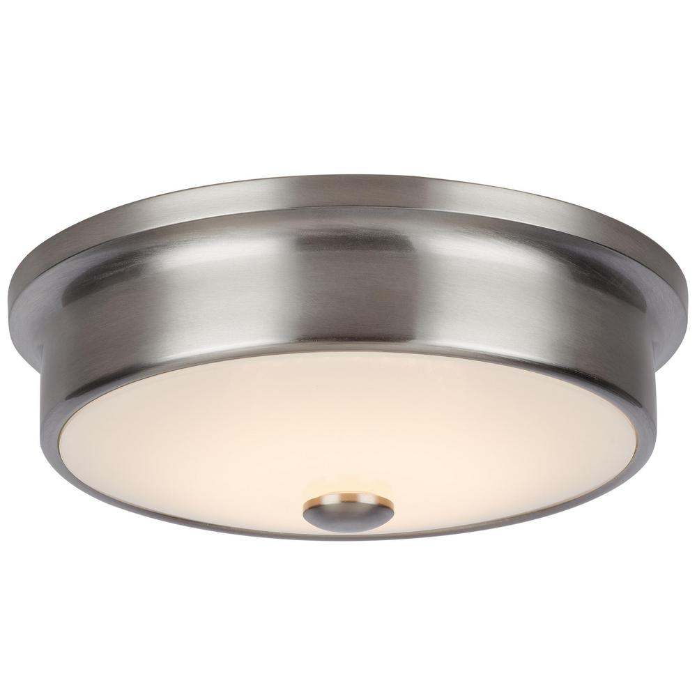 HomeDecoratorsCollection Home Decorators Collection Versailles 12 in. Brushed Nickel LED Flush Mount Ceiling Light with White Glass Shade