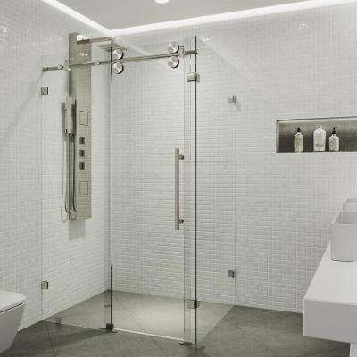 Winslow 57.75 in. x 74 in. Frameless Corner Bypass Shower Enclosure in Stainless Steel with Clear Glass