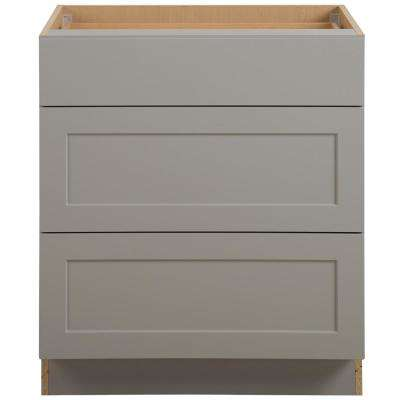 Cambridge Assembled 30x35x24.5 in. Base Cabinet with 3-Soft Close Drawers in Gray