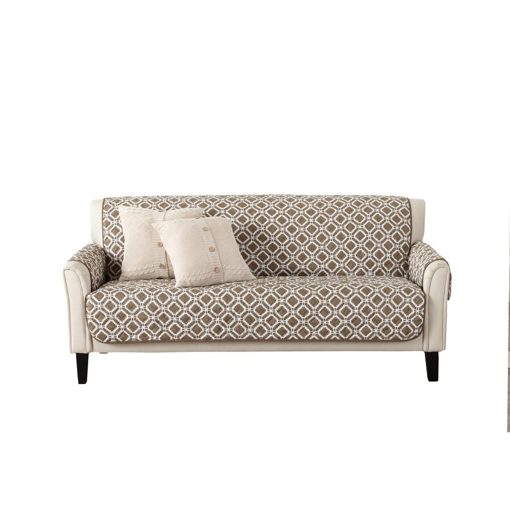 Great Bay Home Liliana Collection Fossil Brown Printed Reversible Sofa Furniture Protector