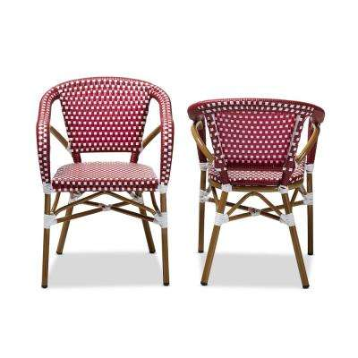 Eliane Red and White Dining Chair (Set of 2)