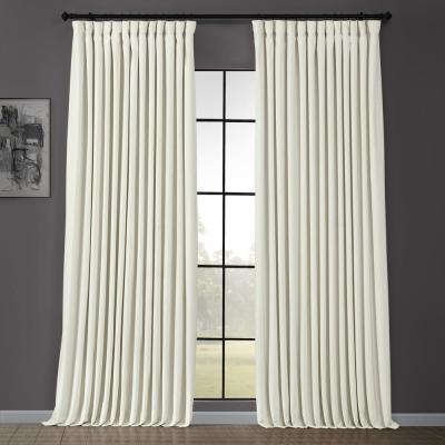 Blackout 100 in. W x 120 in. L Signature Off White Ivory Doublewide Blackout Velvet Curtain (1 Panel)