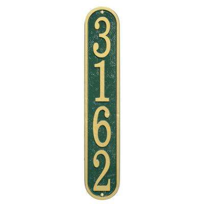 Fast and Easy Vertical House Number Plaque, Green/Gold