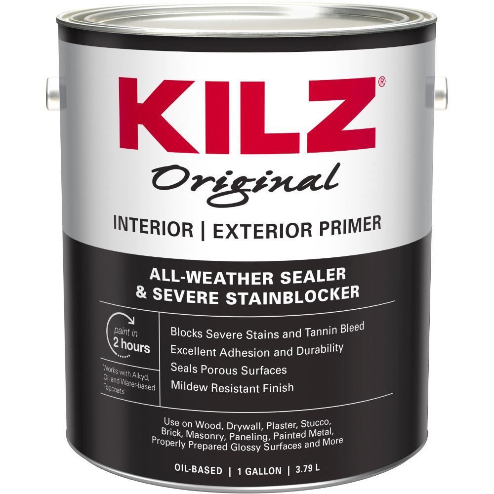 Kilz original interior exterior 1 gal white oil based low - Kilz 5 gallon interior oil primer ...