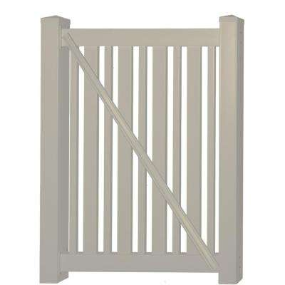 Sarasota 3.7 ft. W x 4 ft. H Khaki Vinyl Pool Fence Gate