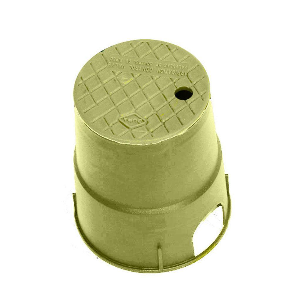 DURA 7 in. Round Valve Box in Tan Body Tan Lid
