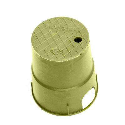 7 in. Round Valve Box in Tan Body Tan Lid