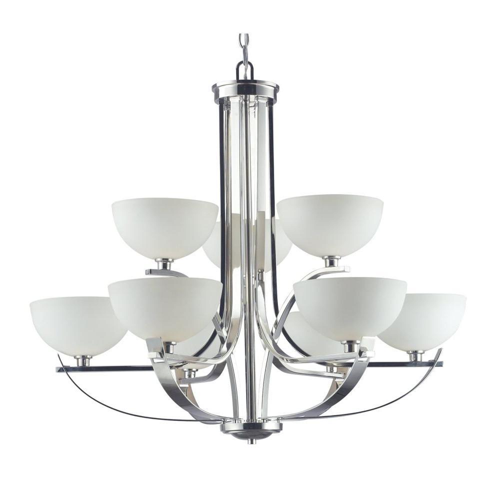 Tulen Lawrence 9-Light Chrome Halogen Ceiling Chandelier