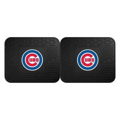 MLB Chicago Cubs Black Heavy Duty 2-Piece 14 in. x 17 in. Vinyl Utility Mat