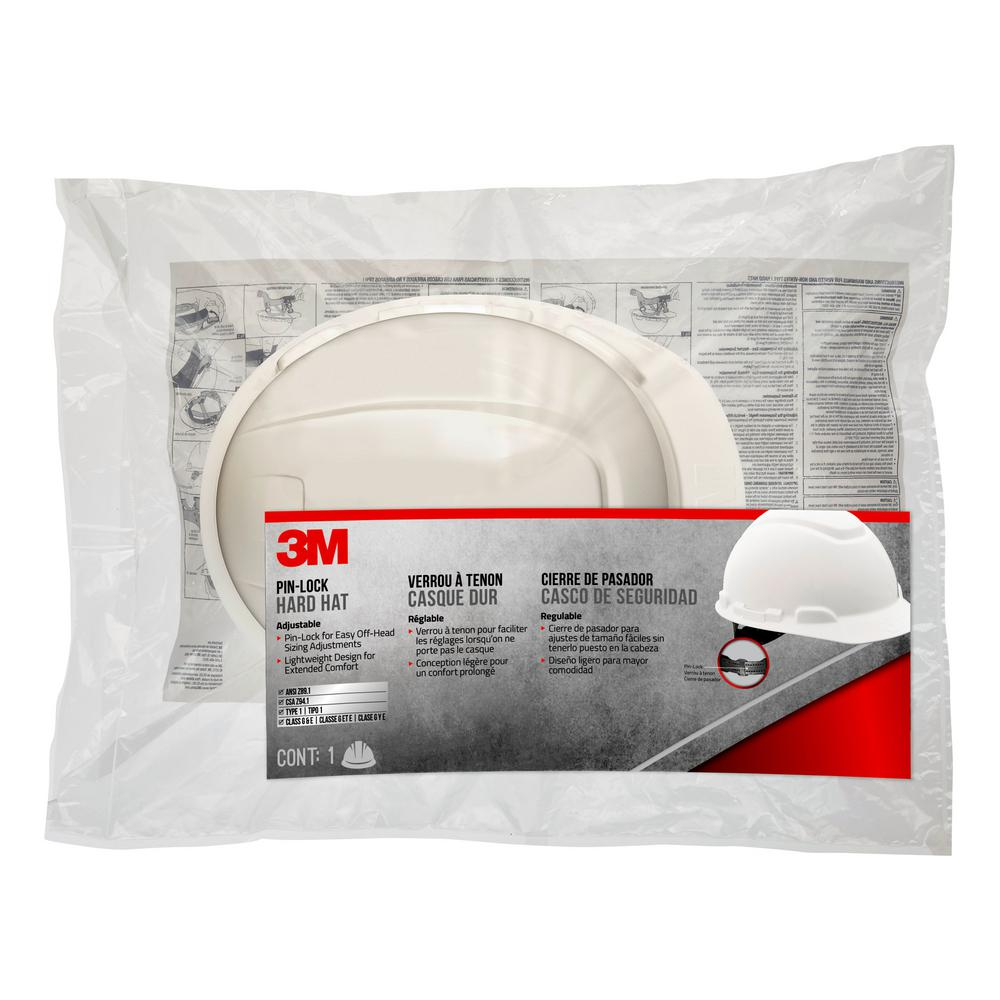 3M White Non-Vented Hard Hat with Pinlock Adjustment