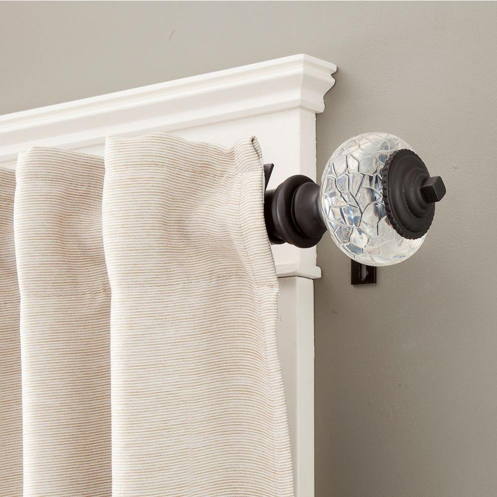 Acrylic curtain rod - Kenney Parson 72 In 140 In Telescoping 1 1 4 In Curtain Rod Kit In Chocolate Brown With Crackled Acrylic Finial 81409rem The Home Depot