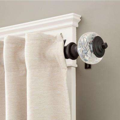 Parson 72 in. - 140 in. Telescoping 1 1/4 in. Curtain Rod Kit in Chocolate Brown with Crackled Acrylic Finial