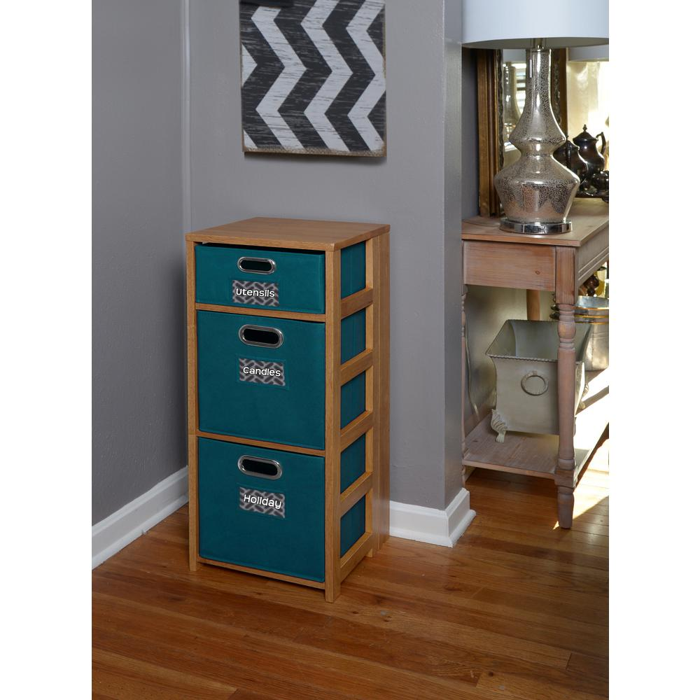 Flip Flop Medium Oak and Teal 3-Shelf Folding Bookcase and Storage