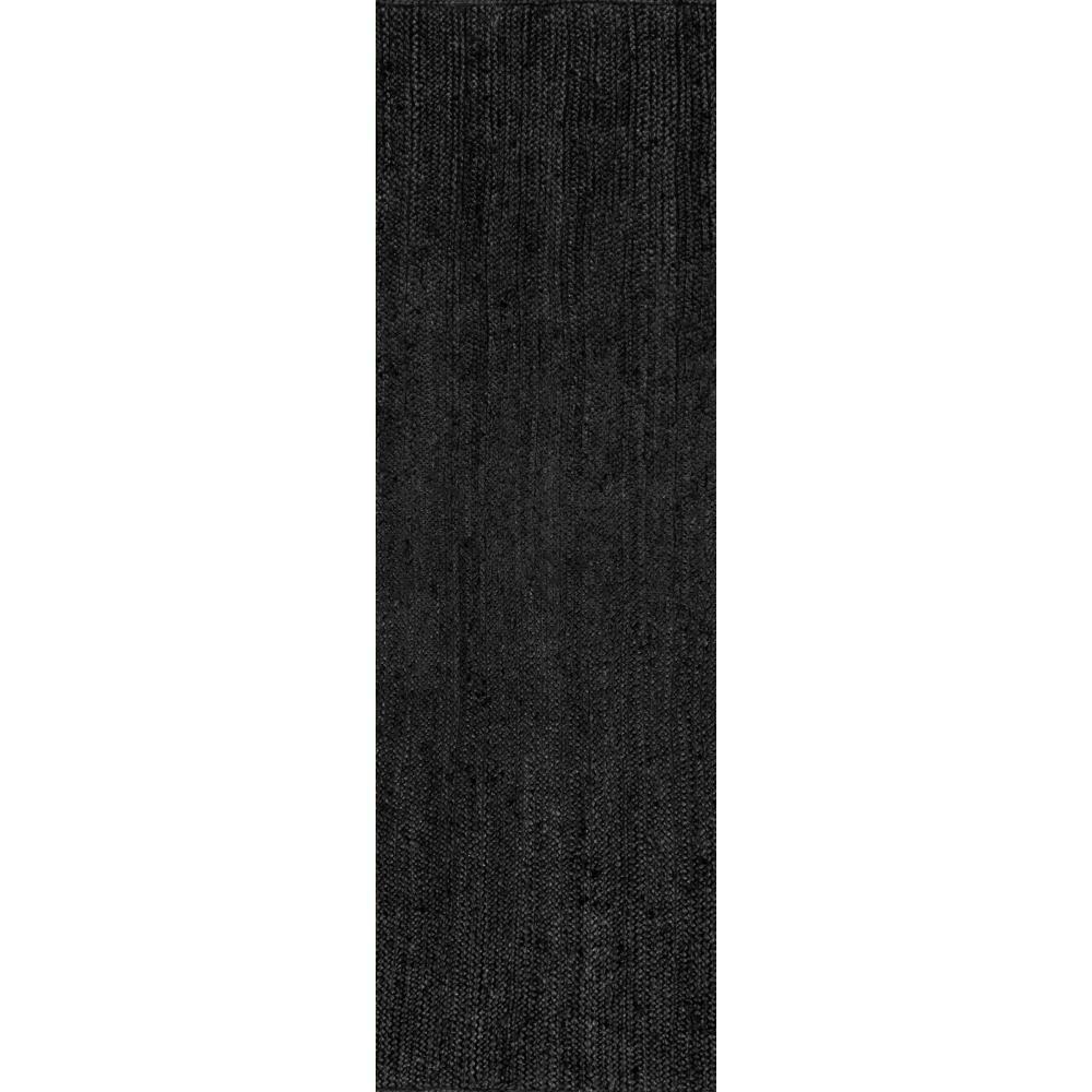 Rigo Chunky Loop Jute Black 3 ft. x 8 ft. Runner