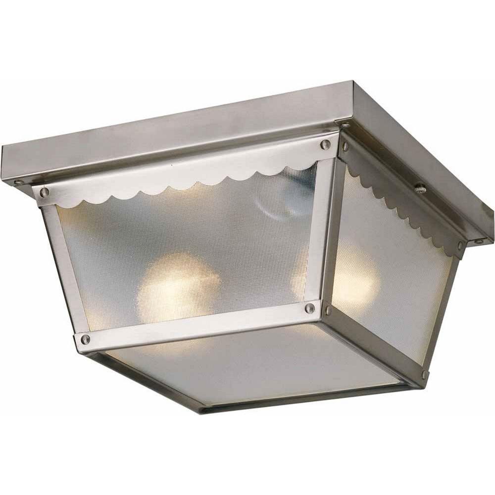 2-Light Outdoor Brushed Nickel Flush Mount Ceiling Fixture