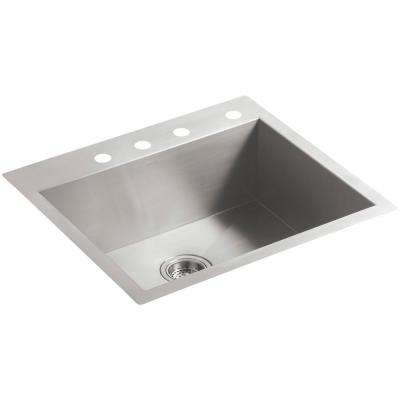 Vault Dual Mount Stainless Steel 25 in. 4-Hole Single Basin Kitchen Sink