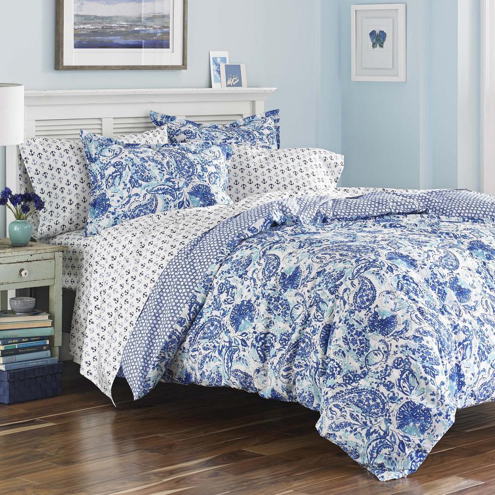 Brooke 3-Piece Blue King Cotton Comforter Set