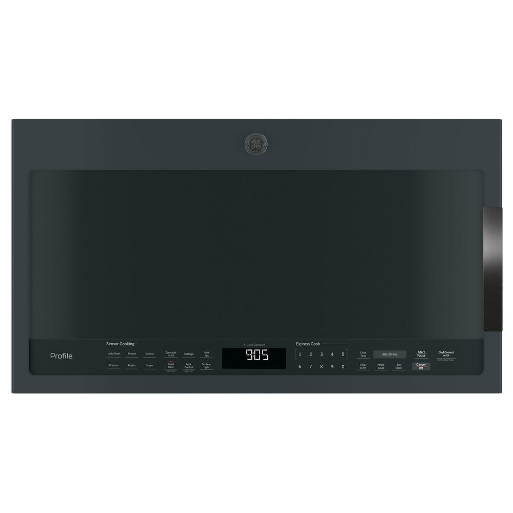Profile 2.1 cu. ft. Over the Range Microwave in Black Slate with Sensor Cooking, Fingerprint Resistant