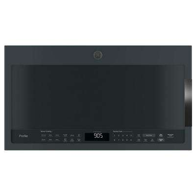 Profile 2.1 cu. ft. Over the Range Microwave in Black Slate with Sensor Cooking, Fingerprint Resistant