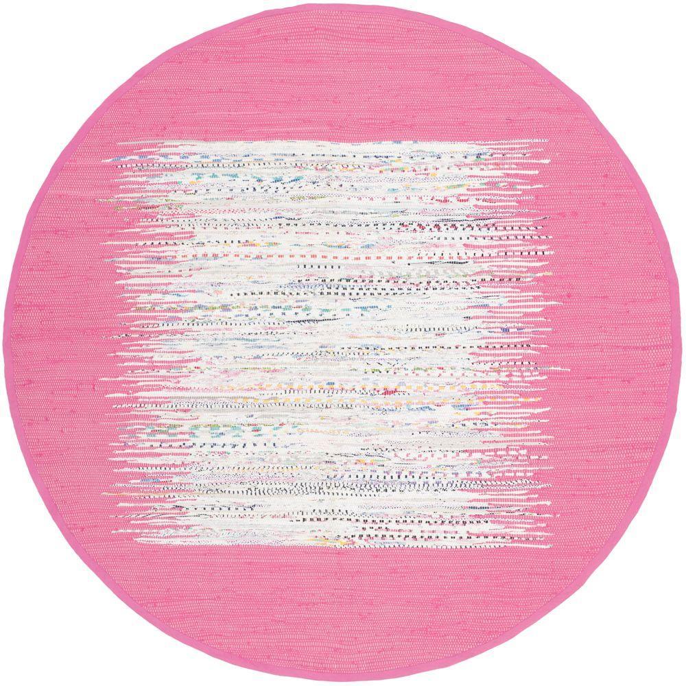 Montauk Ivory/Pink 4 ft. x 4 ft. Round Area Rug