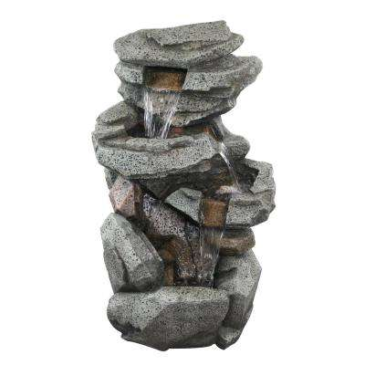 40 in. Tall Rock Locking 5-Tier Cascading Fountain with LED Lights