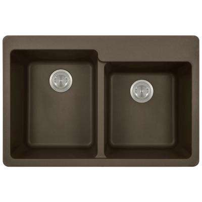 Drop-in Granite Composite 33 in. 3-Hole Offset Double Bowl Kitchen Sink in Mocha