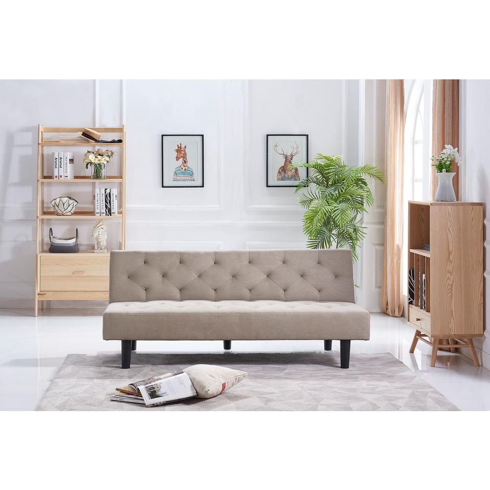 Crawford Burke Belfast Beige Linen Sleeper Sofa