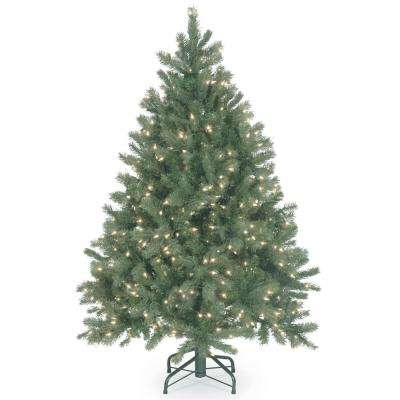 4-1/2 ft. Feel Real Downswept Douglas Blue Fir Hinged Tree with 450 Clear Lights