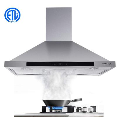 30 in. Wall Mount Range Hood in Stainless Steel with Aluminum Filters LED Lights, Touch Control