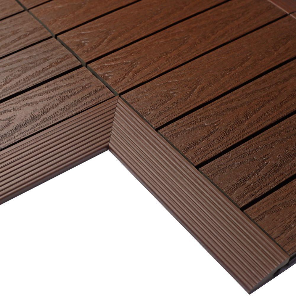 1/6 ft. x 1 ft. Quick Deck Composite Deck Tile Inside Corner in California Redwood (2-Pieces/box)