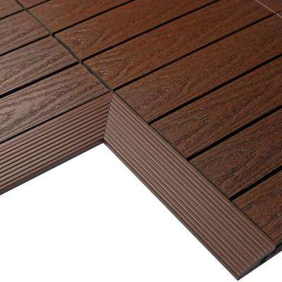 1/6 ft. x 1 ft. Quick Deck Composite Deck Tile Inside Corner in California Redwood (2-Pieces/box)