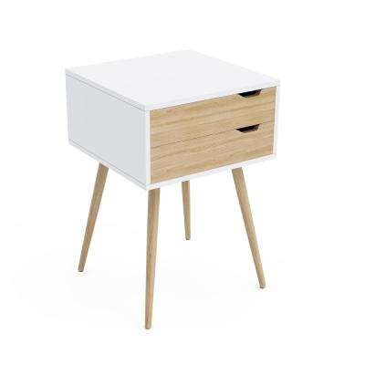 Blythe White 2-Drawer Pocket Side Table with Natural Wood Finish
