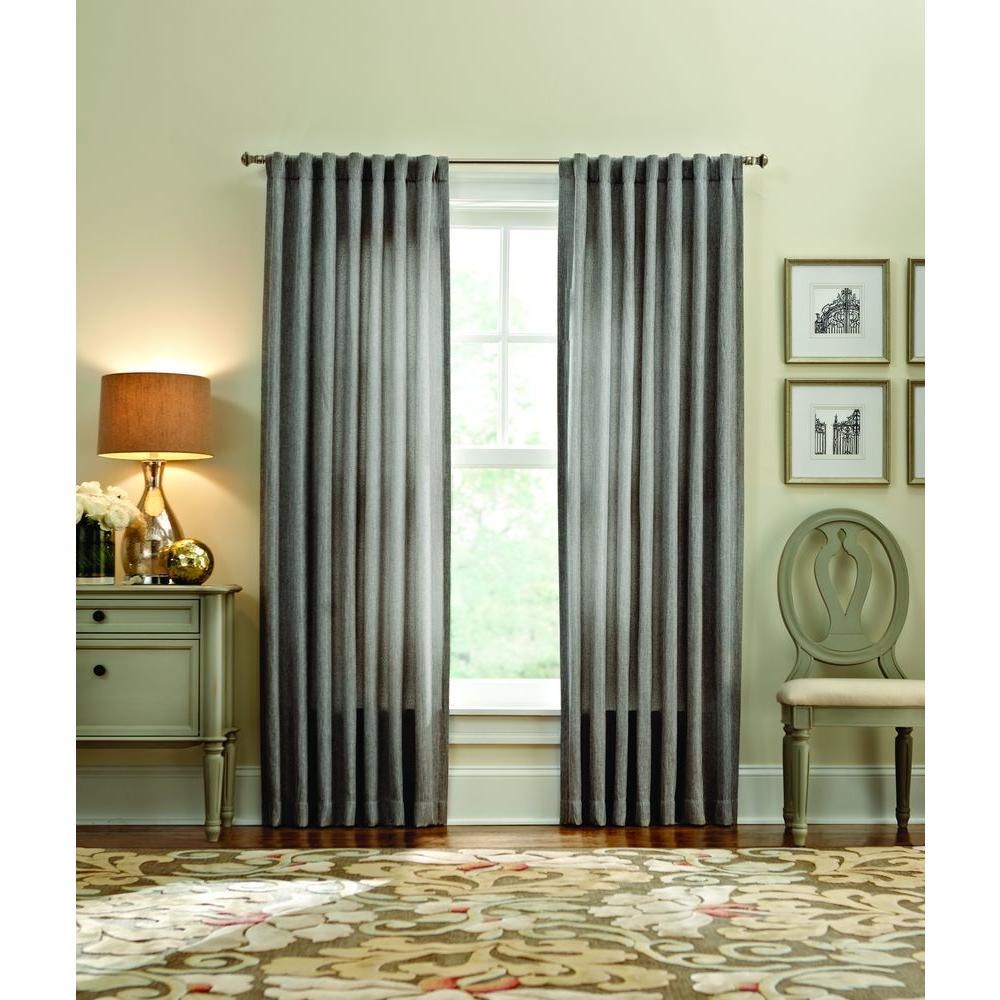 Semi-Opaque Zinc Thermal Tweed Back Tab Curtain
