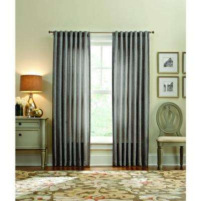 Semi-Opaque Zinc Thermal Tweed Back Tab Curtain