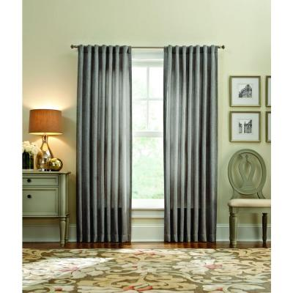 Martha Stewart Living 50 in. W x 84 in. L Thermal Tweed Room Darkening Window Panel in Zinc