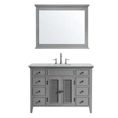 Piedmont 48 in. W x 23 in. D Vanity in Grey with Marble Vanity Top in White with Basin and Mirror