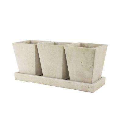 Trio Garden Cement Planter with Tray