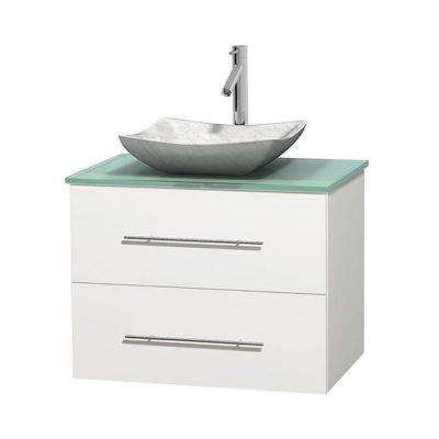 Centra 30 in. Vanity in White with Glass Vanity Top in Green and Carrara Sink
